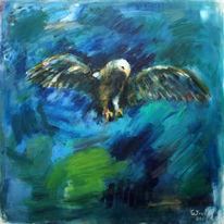 Impressionismus, Adler, Gazmend freitag paintings, Blau