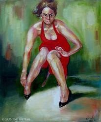 Ölmalerei, Menschen, Realismus, Rot