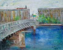 Realismus, Figurativ, Gazmend freitag paintings, Brücke in linz