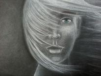 Kohlezeichnung, Kreide, Wind, Portrait