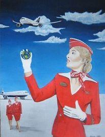 Flugzeug, Himmel, Stewardess, Welt