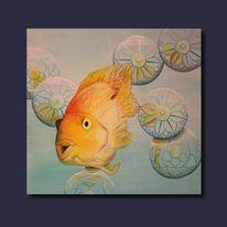 Thai, Fisch, Malerei, Asien