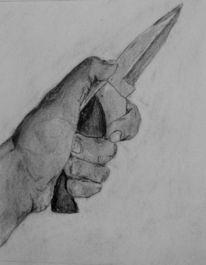 Hand, Messer, Zeichnung, Zeichnen