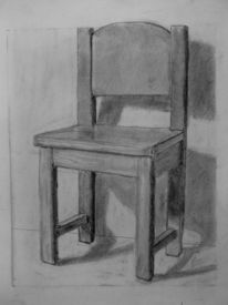 Stuhl, Schatten, Zeichnung, Bleistiftzeichnung