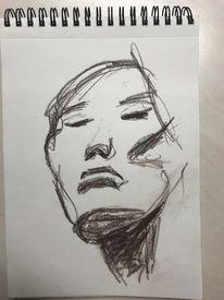 Rötel, Gesicht, Asiatisch, Zeichnungen