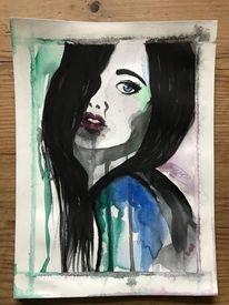 Schwarz, Blau, Frau, Aquarellmalerei