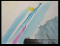 Gelb, Aquarellmalerei, Abstrakt, Blau