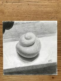 Schneckenhaus, Bleistiftzeichnung, Stein, Zeichenpapier