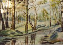 Aquarellmalerei, Aquarell, Frühling