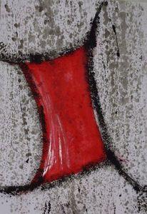 Tuch, Zeichen, Rot, Aquarell