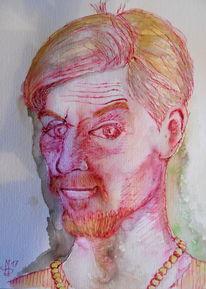 Entflohen aber ungefährlich, Selbstportrait, Tuschmalerei, Malerei