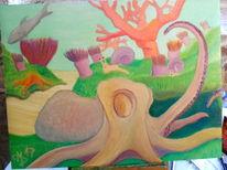 Krake, Ölmalerei, Tintenfisch, Malerei
