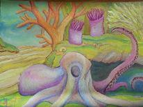 Tintenfisch, Krake, Malerei,