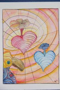 Paradiesvogel, Fliegende herzen, Liebe, Aquarell