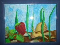 Schnecke, Erdbeeren, Malerei, Weg