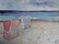 Strandkörbe, Landschaft, Meer, Strand