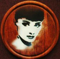 Frau, Zweifarbig, Holz, Airbrush