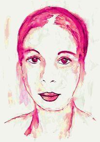Studie, Aquarellmalerei, Skizze, Frau