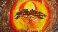 Abstrakt, Sonne, Baum, Malerei