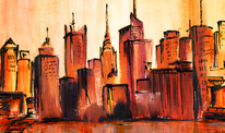 Kunstdruck, Abstrakt, Stadt, Aquarell