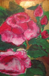Acrylmalerei, Rose, Gemälde, Rot