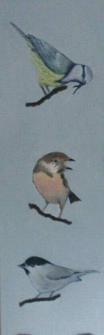 2012, Singvogel, Ölmalerei, Fotografie