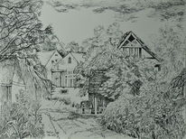 Dorf, Federzeichnung, Zeichnungen, Feder