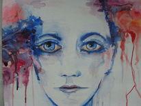 Rot, Gesicht, Menschen, Aquarellmalerei