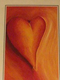 Schwebendes herz, Rotes herz, Gouachemalerei, Malerei