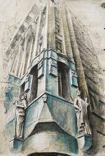 Amsterdam, Skulptur, Damrak, Architektur