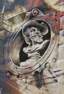 Skulptur, Damrak62, Amsterdam, Architektur