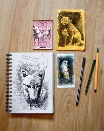 Collage, Tiere, Dokument, Illustrationen