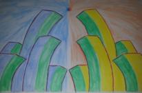 Viereck, Stadt, Aquarellmalerei, Aquarell