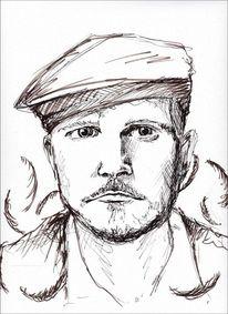Zeichnung, Portrait, Mann, Herr von grau