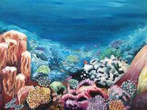 Unterwasser, Fische, Acrylmalerei, Korallen