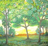 Wald, Dämmerung, Landschaftsmalerei, Blätterdach