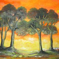 Sonnenuntergang, Licht, Warm, Baum