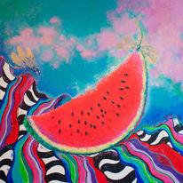 Rot, Wassermelone, Libelle, Malerei