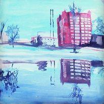 Haus, Landschaft, Winter, Acrylmalerei