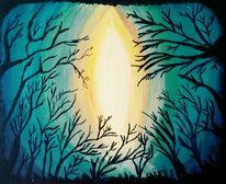 Blau, Wald, Acrylmalerei, Abstrakt