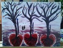 Gefühl, Acrylmalerei, Baum, Paar