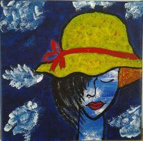 Menschen, Gelb, Hut, Acrylmalerei