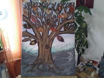 Lebensbaum, Baum, Mischtechnik, Malerei