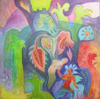Mischtechnik, Ruhe, Acrylmalerei, Malerei
