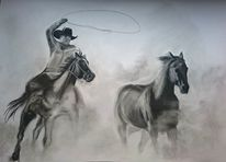 Zeichnung, Cawboy, Pferde, Galopp