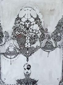 Fantasie, Zeichnung, Buddha, Menschen
