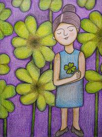 Glücksklee, Glücksbotin, Glück, Zeichnungen