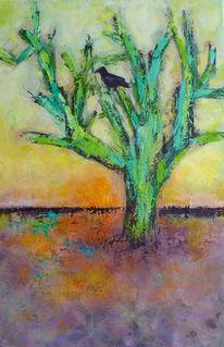 Rabe, Acrylmalerei, Landschaft, Vogel