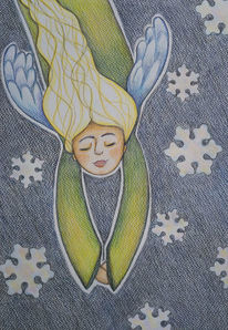 Engel, Winter, Schneeflocken, Zeichnungen