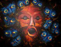 Stress, Depression, Ausbrennen, Acrylmalerei